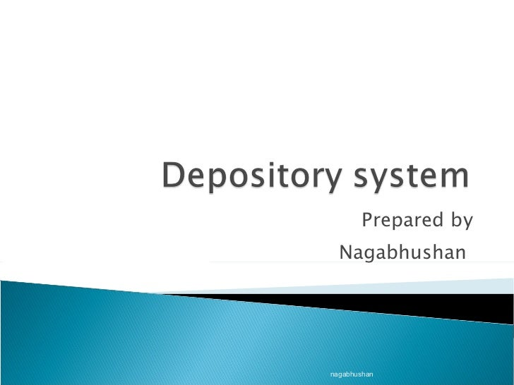 Ppt on depository system in india