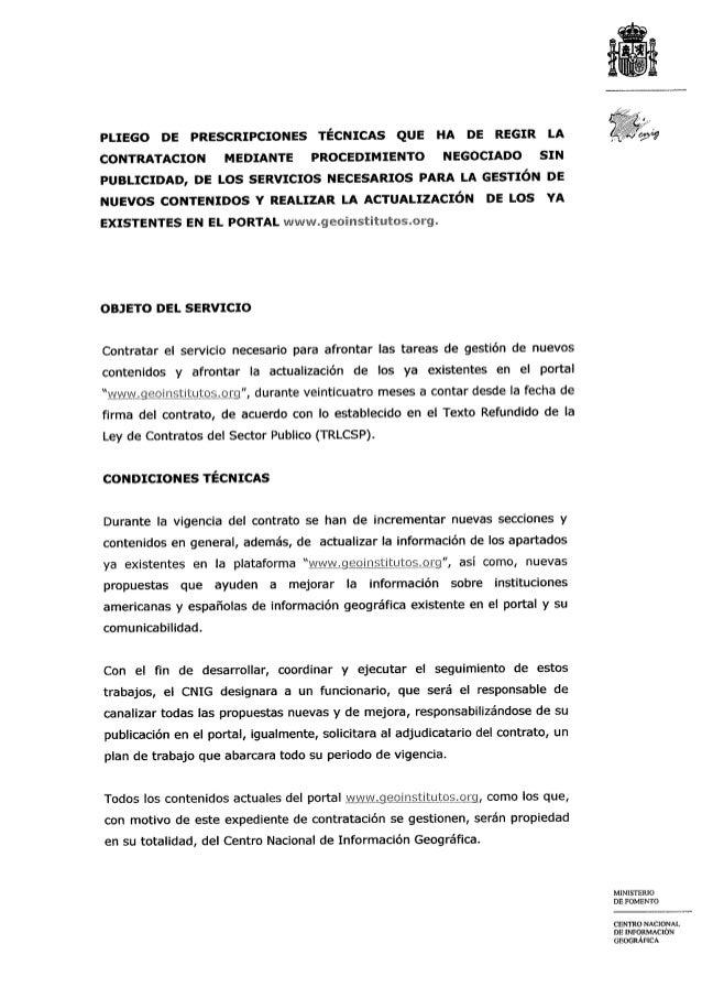 Pliego de Prescripciones Técnicas para la gestion contenidos geoinstitutos 2013