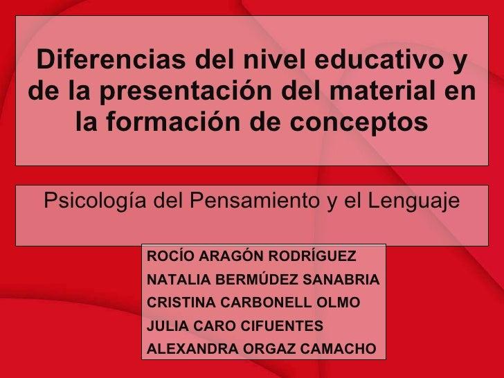 Diferencias del nivel educativo y de la presentación del material en la formación de conceptos Psicología del Pensamiento ...