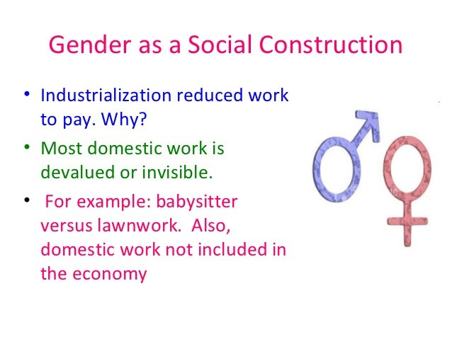 gender social construction essay The social construction of gender could be further been seen by the way parents behave to their children, by their expectations about how their children should behave and act, and by the toys they buy for them for example girls are supposed to play with dolls and be sweet and emotional and boys are supposed to play with action figures and be.