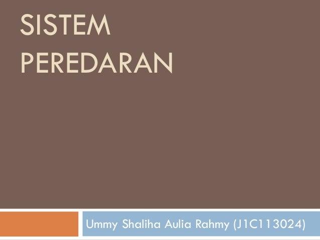 SISTEM PEREDARAN Ummy Shaliha Aulia Rahmy (J1C113024)
