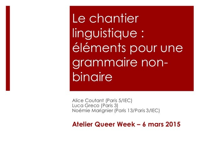 Le chantier linguistique : éléments pour une grammaire non- binaire Alice Coutant (Paris 5/IEC) Luca Greco (Paris 3) Noémi...