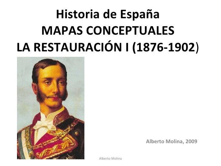 Historia de España MAPAS CONCEPTUALES LA RESTAURACIÓN I (1876-1902 ) Alberto Molina, 2009 Alberto Molina