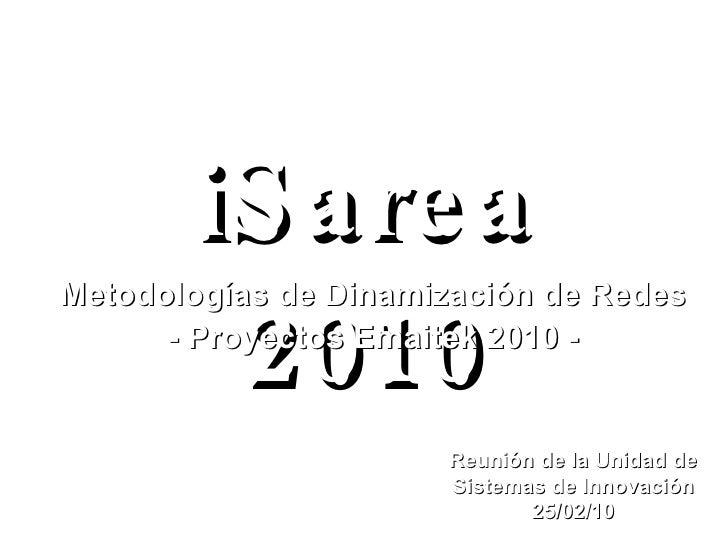 iSarea 2010 Reunión de la Unidad de Sistemas de Innovación 25/02/10 Metodologías de Dinamización de Redes - Proyectos Emai...