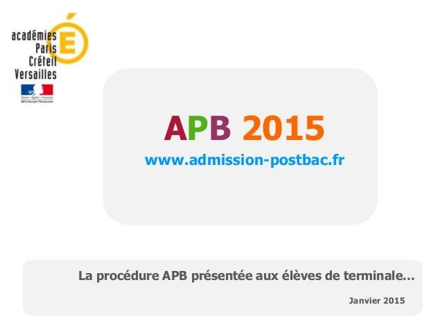 APB 2015 www.admission-postbac.fr Janvier 2015 La procédure APB présentée aux élèves de terminale…