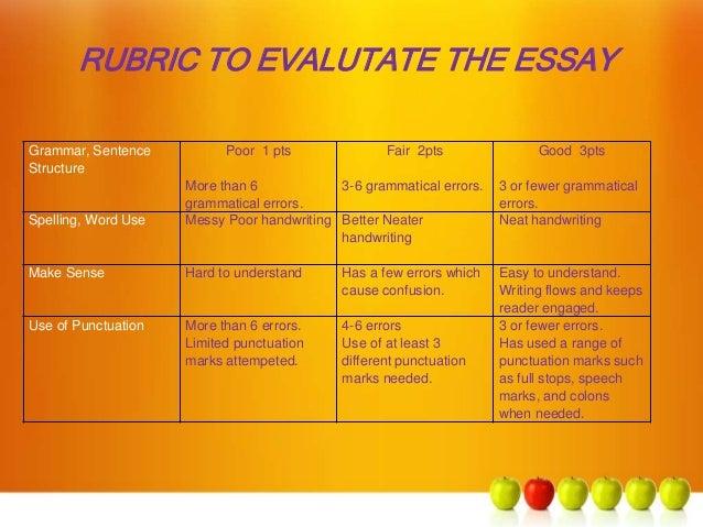 grammar rubric essay