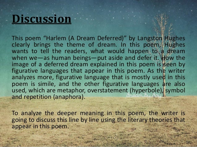 harlem a dream deferred essay example