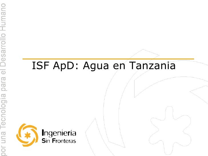 ISF ApD: Agua en Tanzania