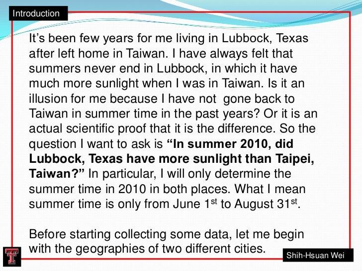 Daylight in Lubbock, Texas and Taipei, Taiwan in Summer 2010