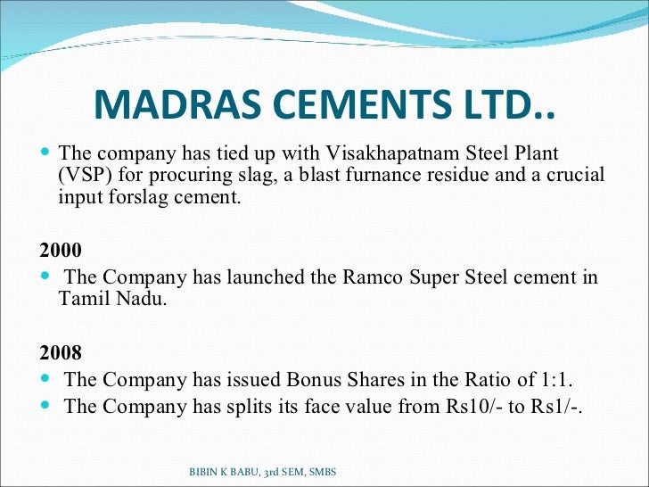 osr at madras cements limited View venkatraman raman's profile on linkedin, the world's largest professional community venkatraman has 1 job listed on their profile see the complete profile on linkedin and discover venkatraman's connections and jobs at similar companies.