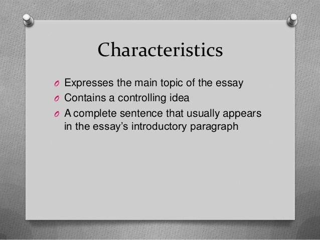 Characteristics essay