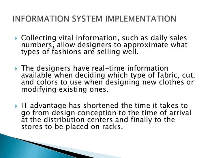 zaras it essay We will depict how zara's operations strategy led to a sustainable competitive advantage in the global apparel industry zara's supply chain vertically integrated, controlling most of the processes in its supply chain.