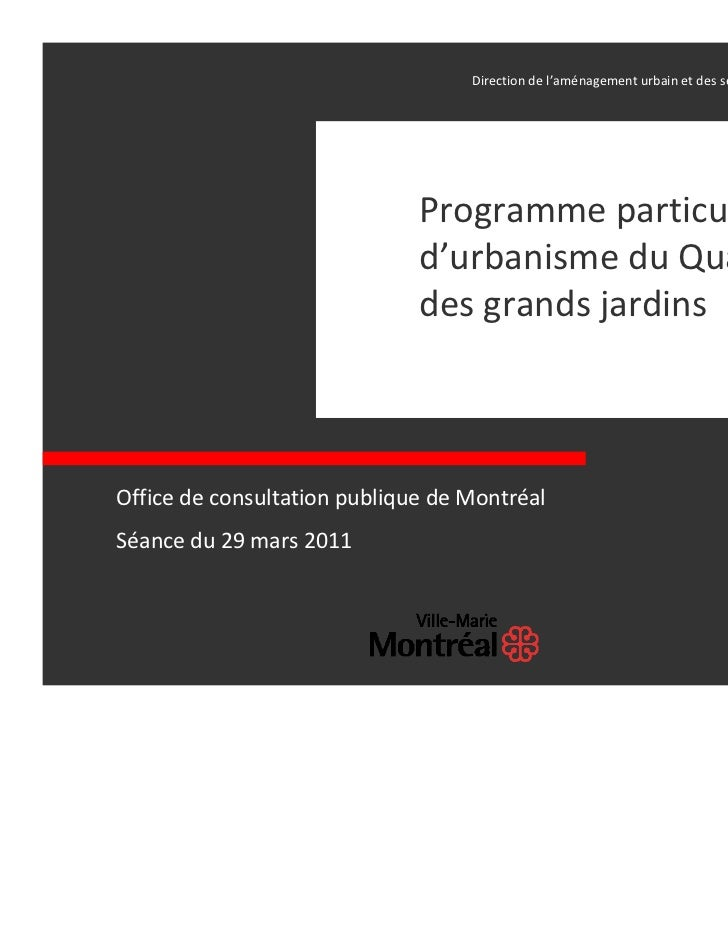 Directiondel'aménagementurbainetdesservicesauxentreprises│                              Programmeparticulier  ...