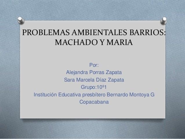 PROBLEMAS AMBIENTALES BARRIOS: MACHADO Y MARIA Por: Alejandra Porras Zapata Sara Marcela Díaz Zapata Grupo:10º1 Institució...