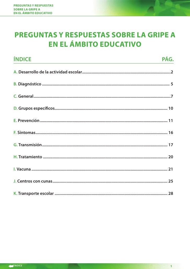 Preguntas y resPuestas sobre la griPe a en el Ámbito educativo     Preguntas y resPuestas sobre la griPe a        en el Ám...