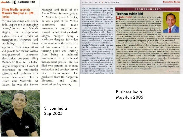 Silicon India Sep 2005 Business India May-Jun 2005