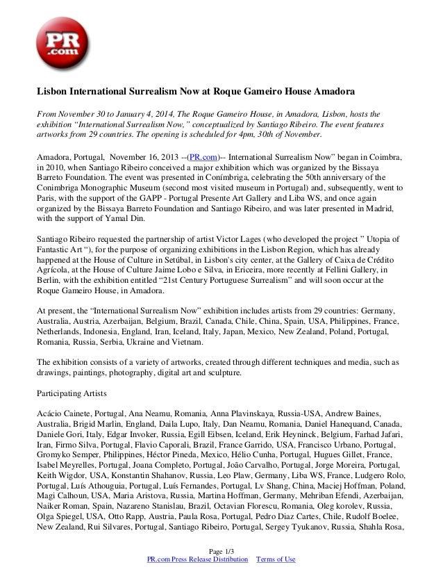 """Pr.com press-release -  Lisbon """"International Surrealism Now"""" – The Roque Gameiro House, Amadora"""