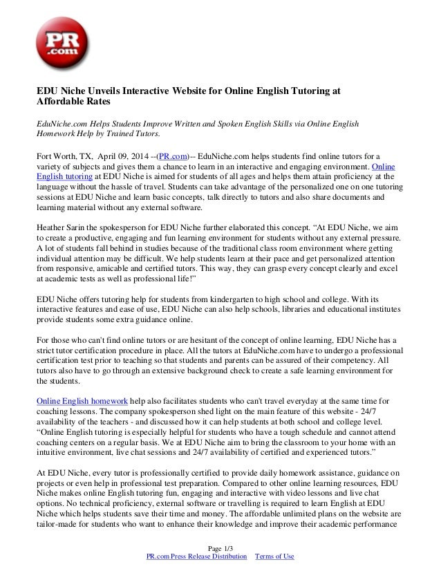 EDU Niche Unveils Interactive Website for Online English Tutoring at Affordable Rates EduNiche.com Helps Students Improve ...