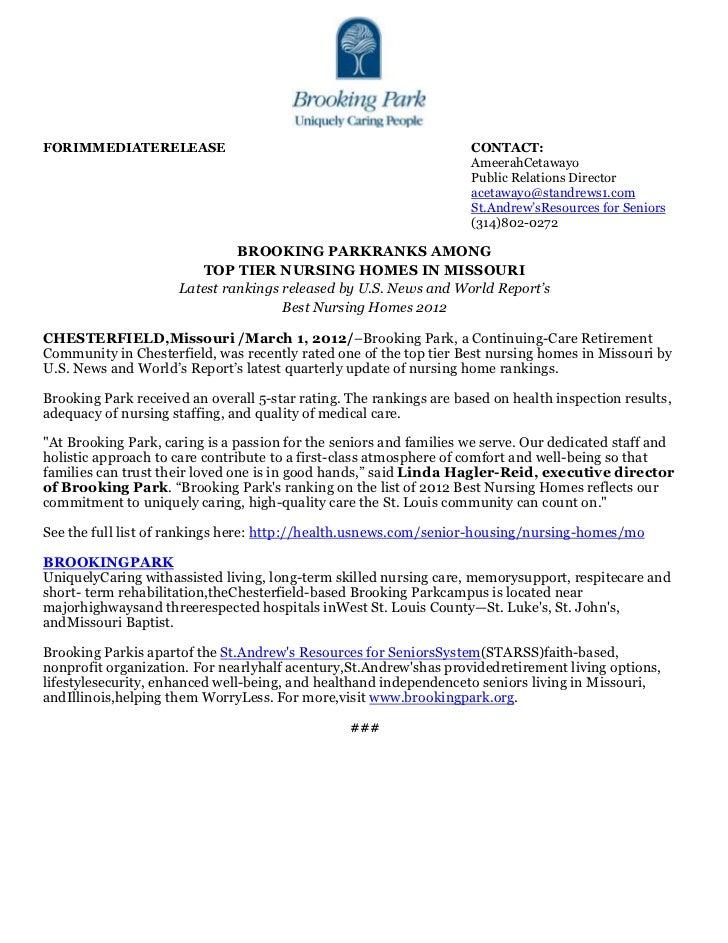 Pr   brooking park ranks on best nursing homes 2012 list