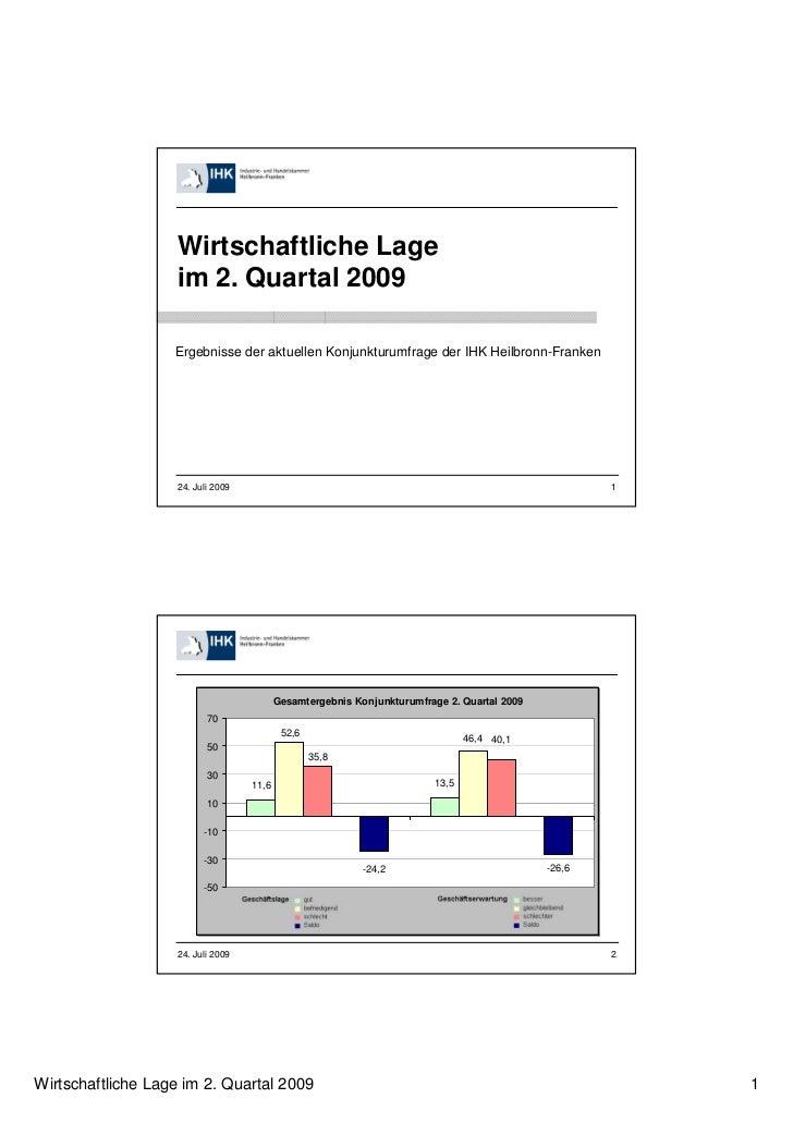 Wirtschaftliche Lage                   im 2. Quartal 2009                   Ergebnisse der aktuellen Konjunkturumfrage der...