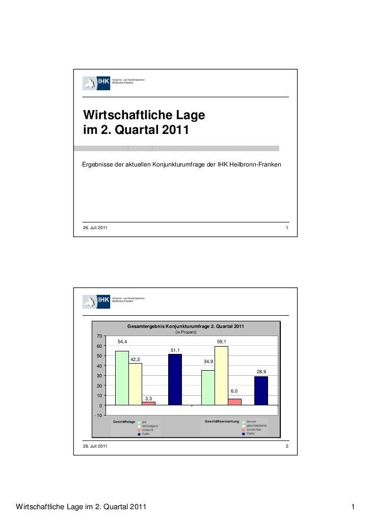 Wirtschaftliche Lage                   im 2. Quartal 2011                   Ergebnisse der aktuellen Konjunkturumfrage der...
