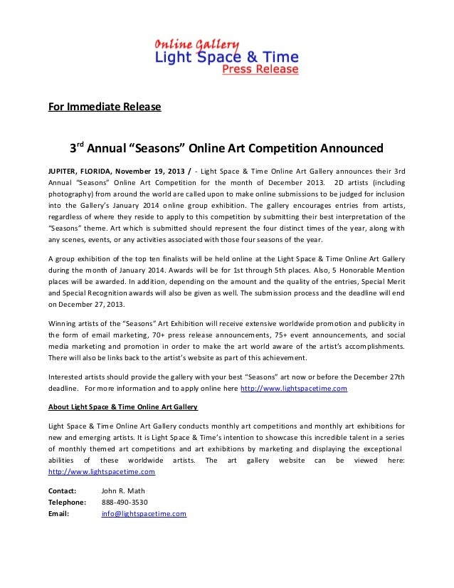 "For Immediate Release  3rd Annual ""Seasons"" Online Art Competition Announced JUPITER, FLORIDA, November 19, 2013 / - Light..."