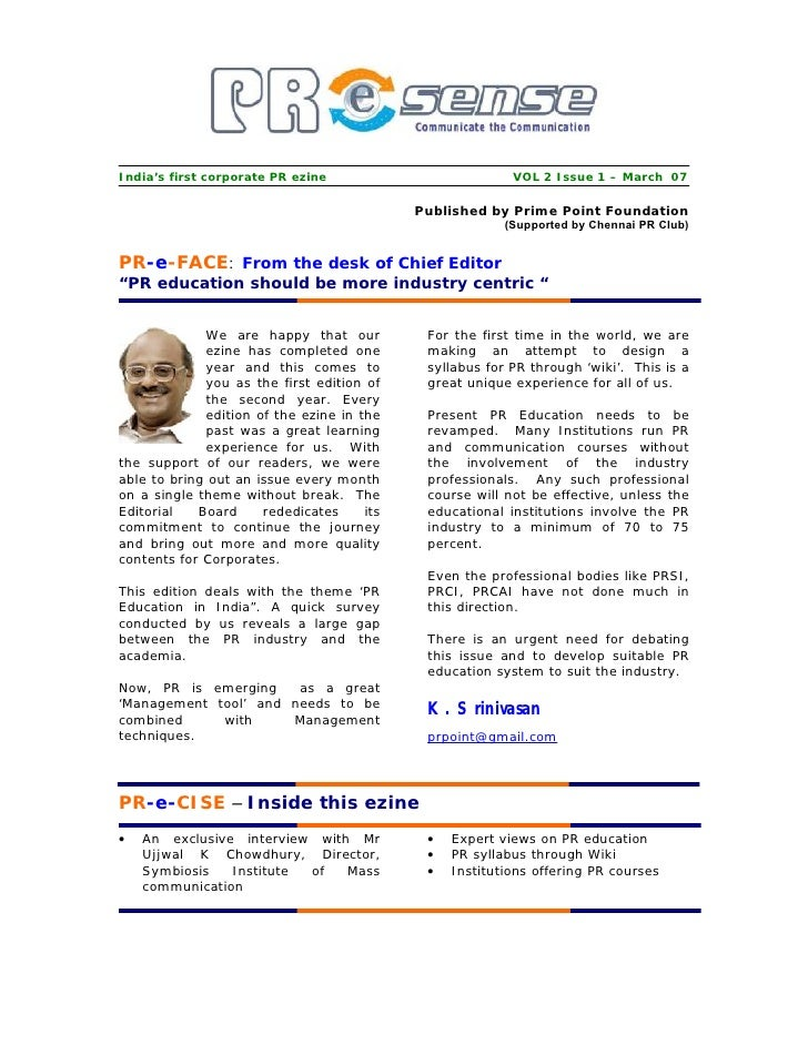 India's first corporate PR ezine                          VOL 2 Issue 1 – March 07                                        ...