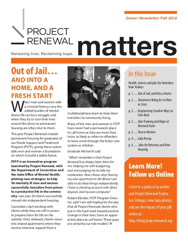 Donor Newsletter Fall 2012                                                  mattersOut of Jail…                           ...
