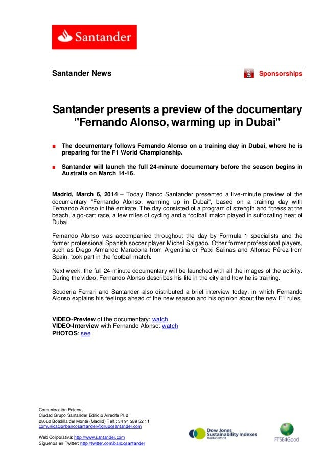 """Santander News  Sponsorships  Santander presents a preview of the documentary """"Fernando Alonso, warming up in Dubai"""" ■  Th..."""