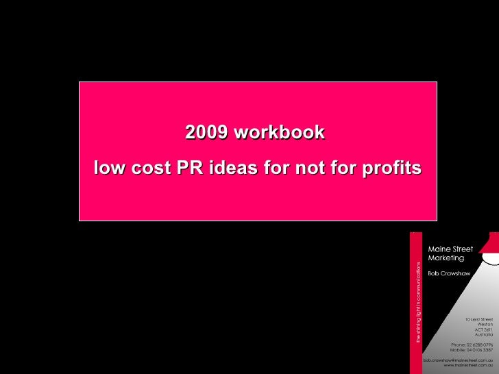 2009 workbook  low cost PR ideas for not for profits