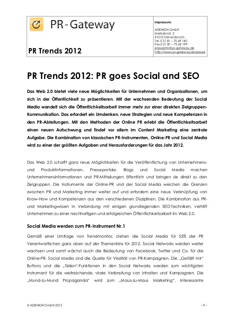 PR Trends 2012: PR goes Social and SEO
