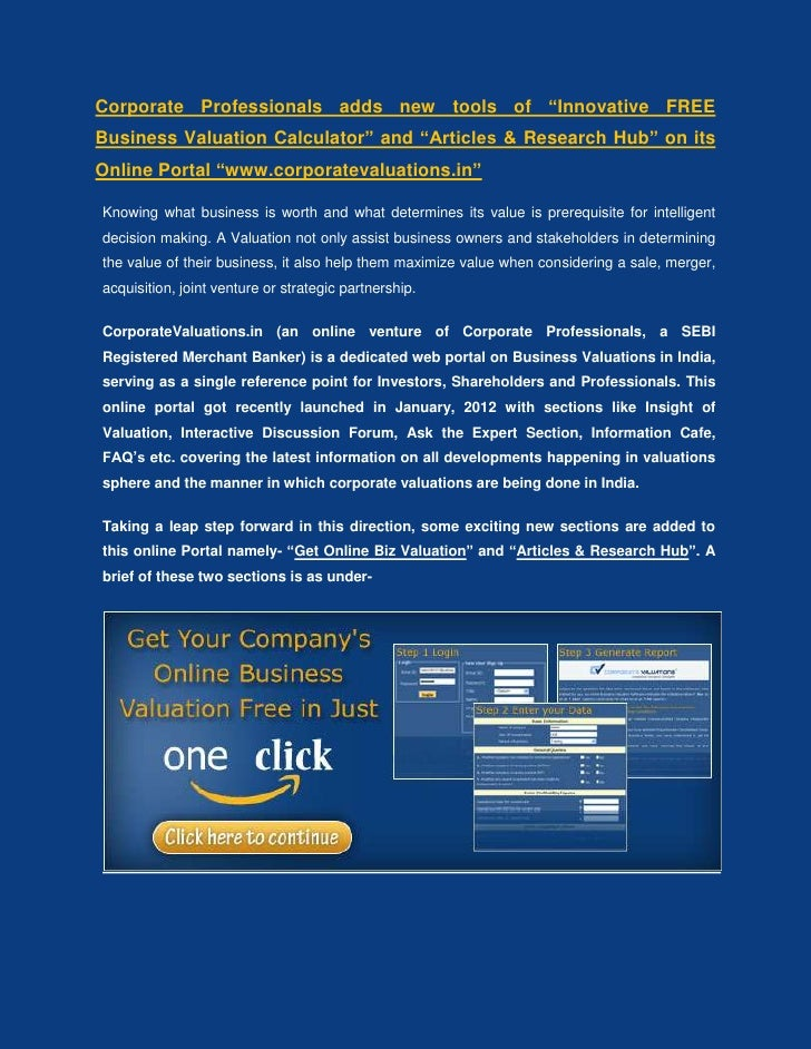 """Corporate Professionals adds new tools of """"Innovative FREEBusiness Valuation Calculator"""" and """"Articles & Research Hub"""" on ..."""