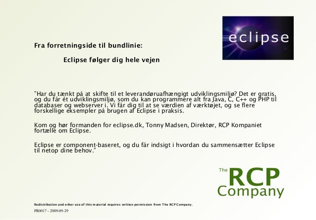 PR0017 - 2009-09-29 Redistribution and other use of this material requires written permission from The RCP Company. Fra fo...