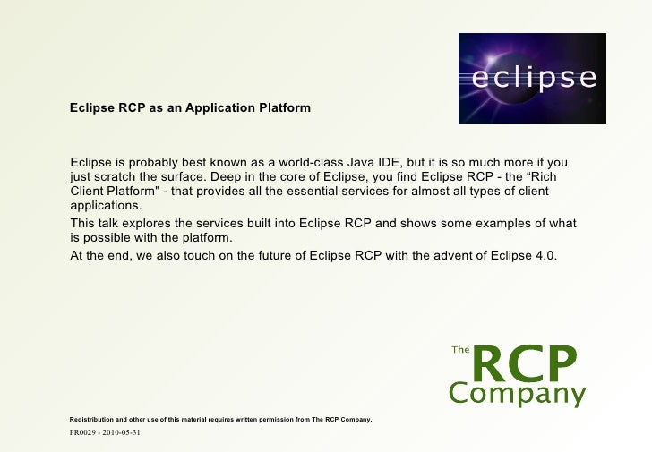 Eclipse Banking Day in Copenhagen - Eclipse RCP as an Application Platform