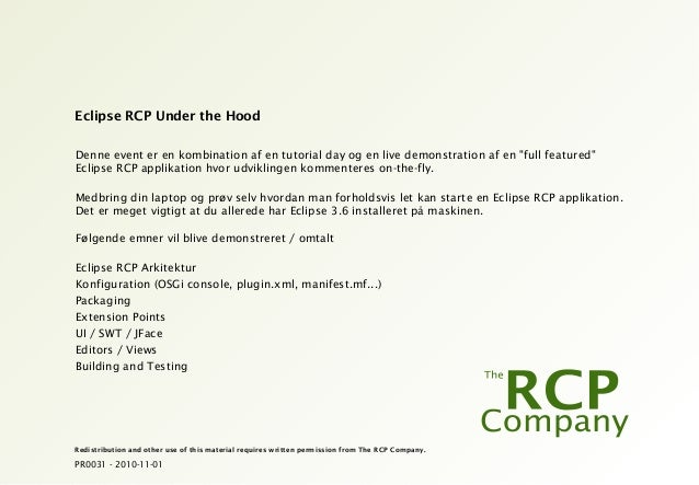 PR0031 - 2010-11-01 Redistribution and other use of this material requires written permission from The RCP Company. Eclips...