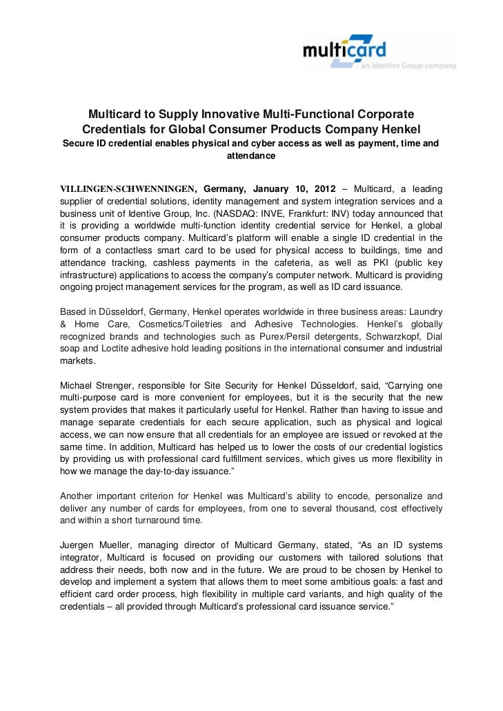 Multicard | Press Release | Multicard to Supply Innovative Multi-Functional Corporate Credentials for Global Consumer Products Company Henkel
