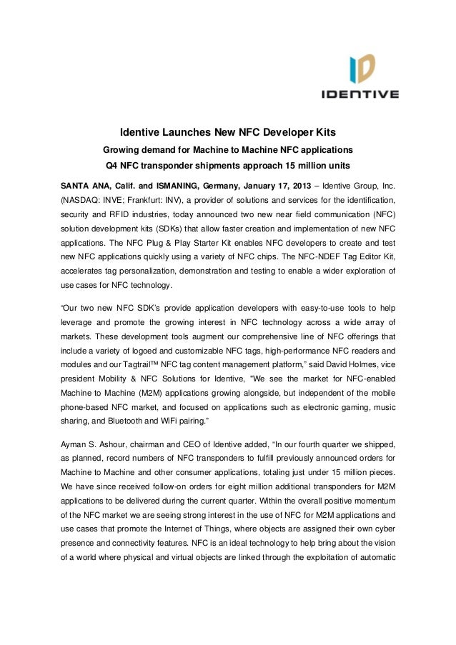 Identive Group | Press Release | Identive Launches New NFC Developer Kits