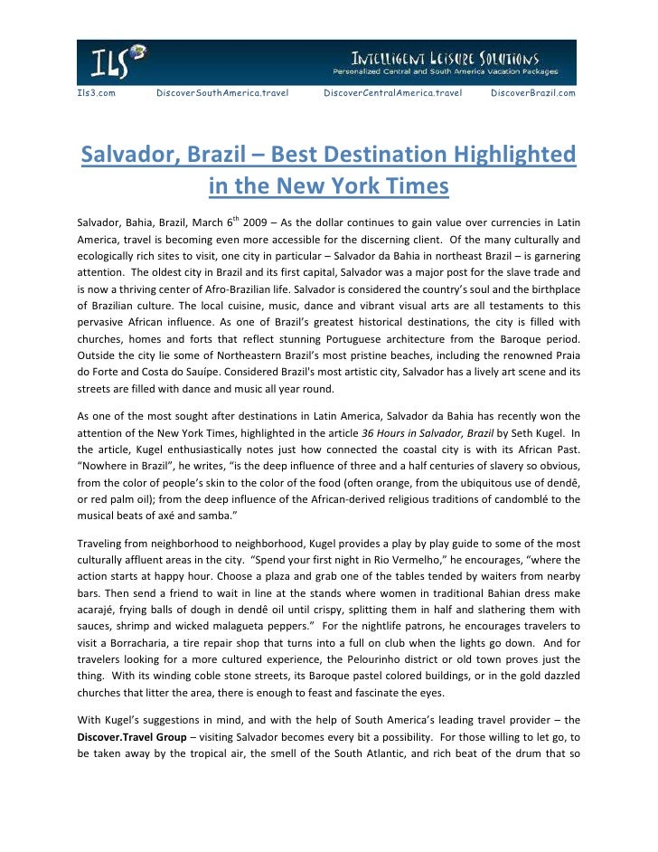 Salvador, Brazil – Best Destination Highlighted in the New York Times
