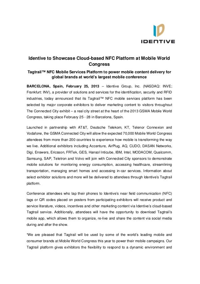 Identive Group | Press Release | Identive to Showcase Cloud-based NFC Platform at Mobile World Congress
