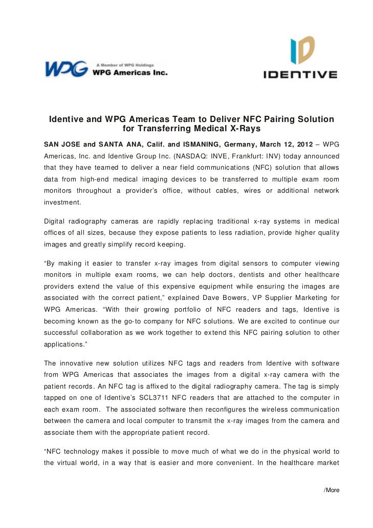 Identive | Press Release | Identive and WPG Americas Team to Deliver NFC Pairing Solution for Transferring Medical X-Rays