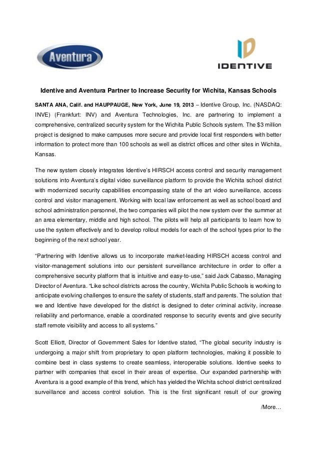 Identive Group   Press Release   Identive and Aventura Partner to Increase Security for Wichita, Kansas Schools