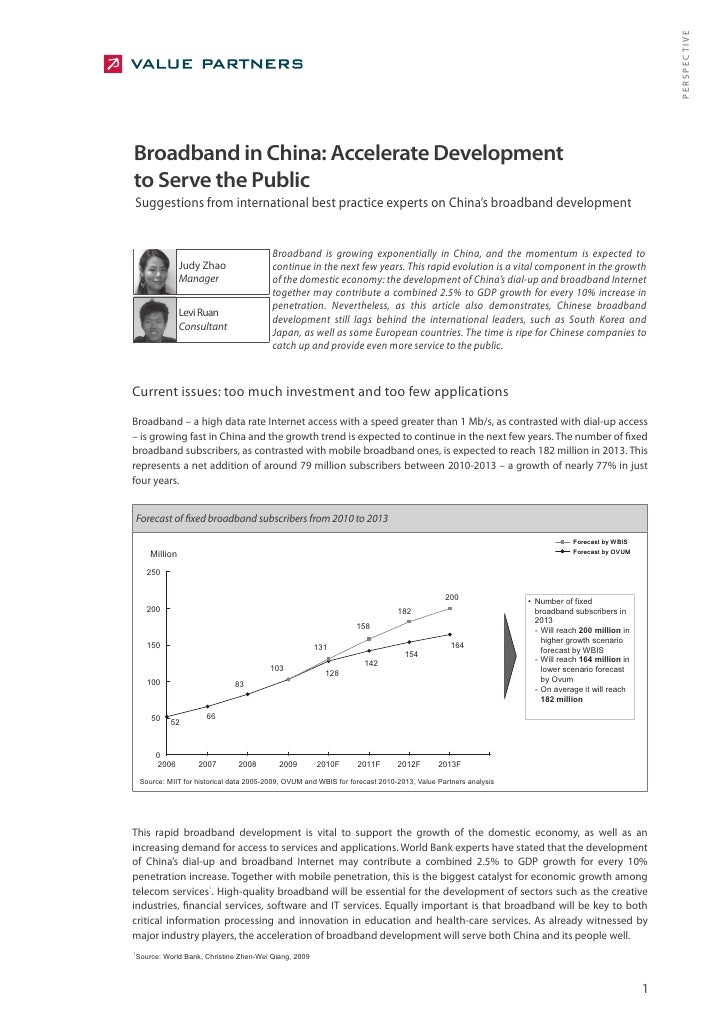 PERSPECTIVE Broadband in China: Accelerate Development to Serve the Public Suggestions from international best practice ex...