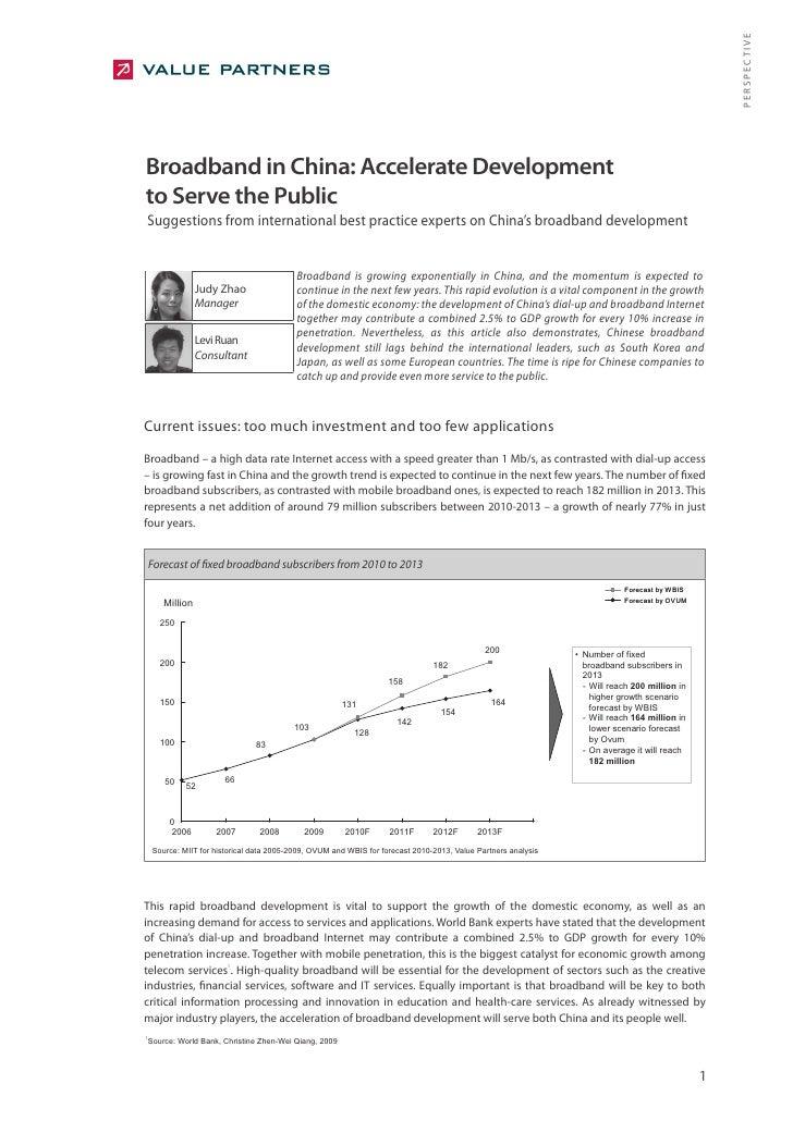 Broadband in China: Accelerate Development to Serve the Public