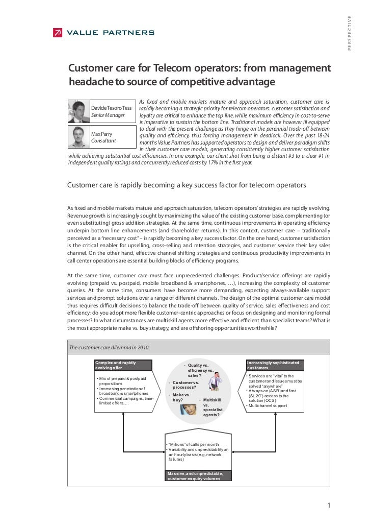 PERSPECTIVE Customer care for Telecom operators: from management headache to source of competitive advantage              ...
