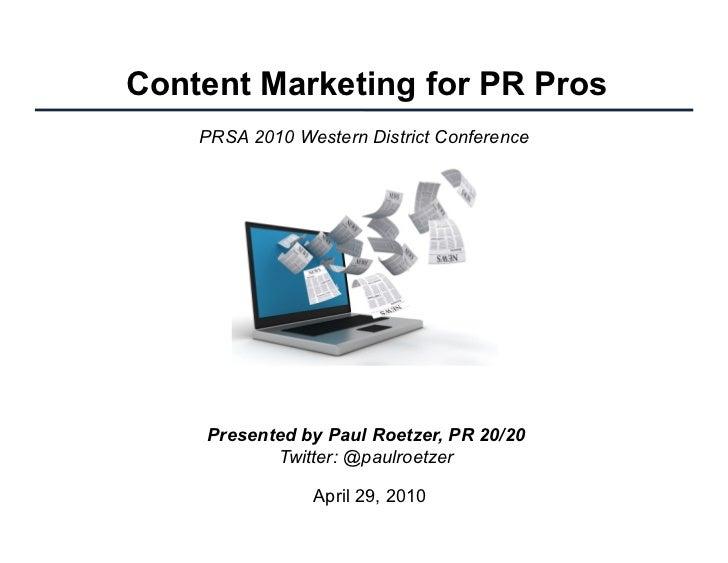 Content Marketing for PR Pros