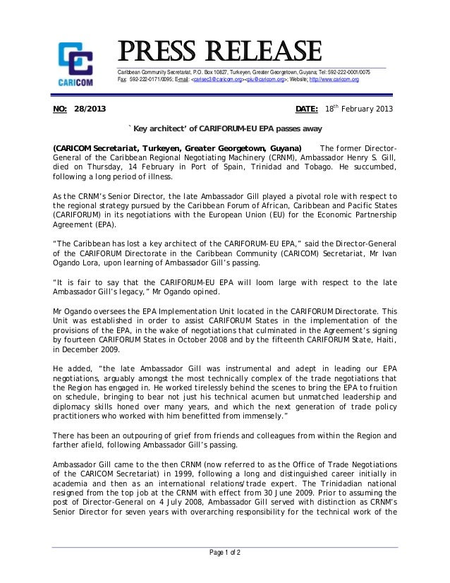 PR282013 - 'Key architect' of CARIFORUM - EU EPA passes away