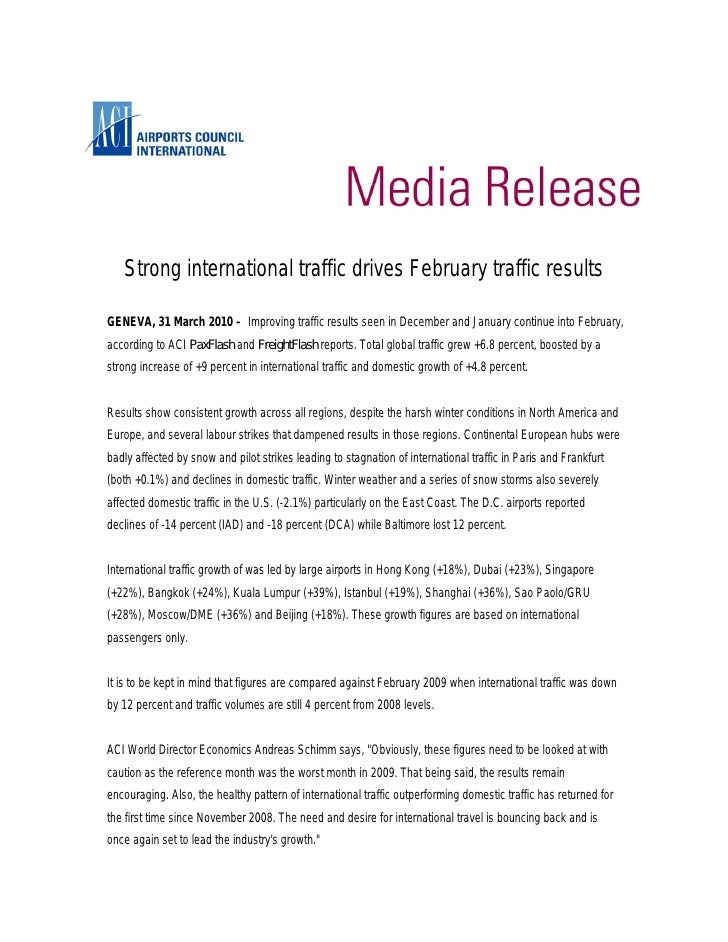 Strong international traffic drives February traffic results  GENEVA, 31 March 2010 – Improving traffic results seen in De...