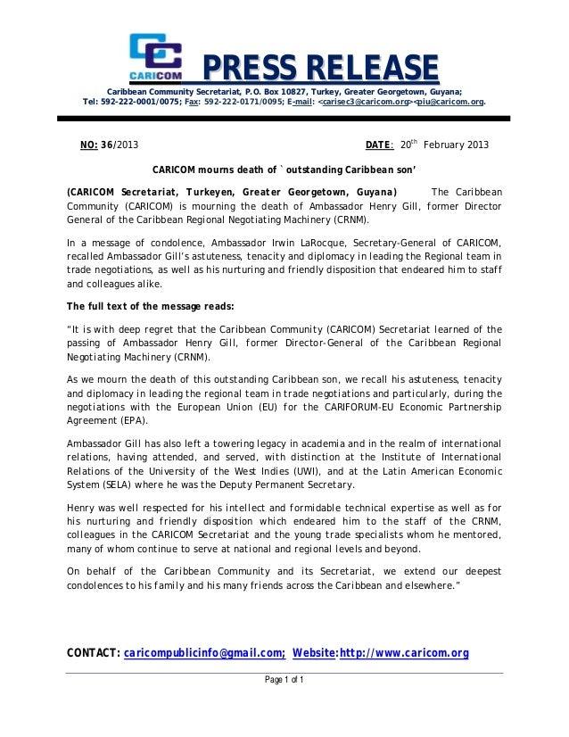 PRESS RELEASE         Caribbean Community Secretariat, P.O. Box 10827, Turkey, Greater Georgetown, Guyana;   Tel: 592-222-...