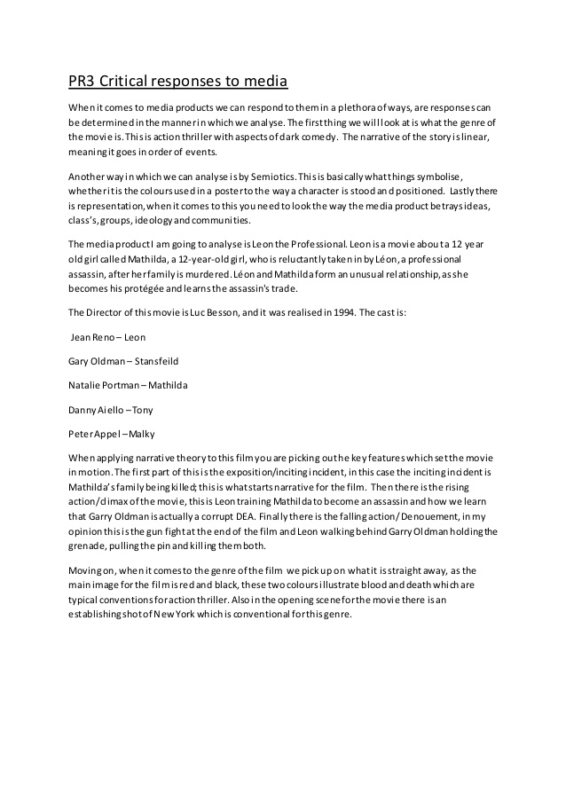 critical essay writing film