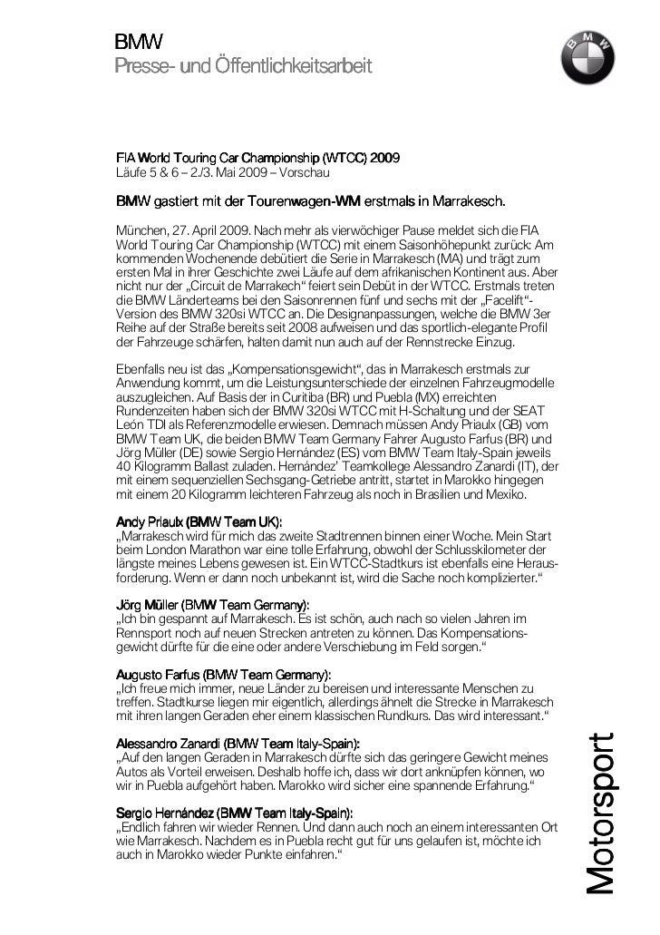 BMWPresse-Presse- und Öffentlichkeitsarbeit                                          2009FIA World Touring Car Championshi...